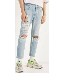 cropped slim fit jeans met scheuren