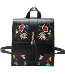mochilas/ mochila floral mujeres casual leather girls-negro