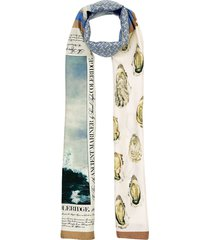 burberry oyster, monogram and mariner print silk scarf - white