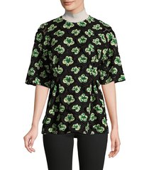 marni women's embroidered floral stretch-silk top - gazebo - size 38 (2)