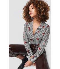 rut&circle flower stripe shirt - multicolor