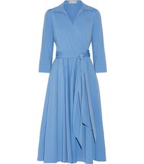 pleated cotton-blend poplin midi wrap dress