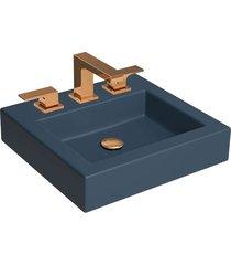cuba de apoio quadrada navy blue com mesa 45x43cm l737 - deca - deca