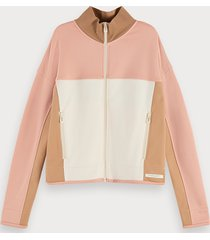 scotch & soda cotton blend long sleeve colour-block zip up sweatshirt