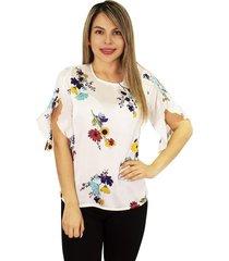elvira burgos - blusa para dama elegante de moda en seda- ref 77131900– blanco