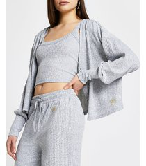 river island womens grey ribbed lounge cardigan and tank