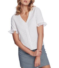 women's court & rowe ruffle sleeve front button blouse