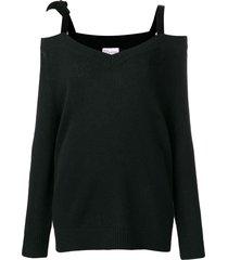 redvalentino red (v) velvet ribbon cold shoulder sweater - black