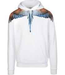 marcelo burlon man white and orange wings hoodie