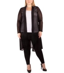 ny collection plus size semi-sheer duster cardigan