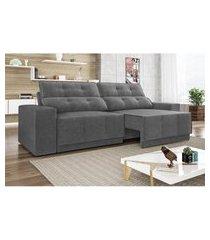 sofá 4 lugares net jaguar assento retrátil e reclinável grafite 2,30m (l)