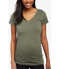 motherhood maternity ruched v-neck t-shirt