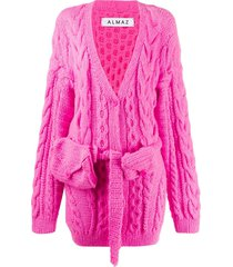 almaz chunky cable-knit cardigan - pink
