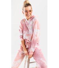brenn tie-dye cropped hooded sweatshirt - blush