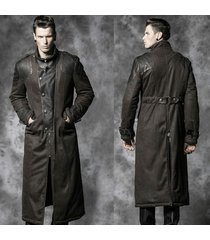 men leather coat winter long  leather coat genuine real leather trench coat-uk11