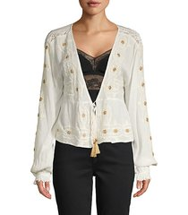 lace-trimmed embroidered blouse
