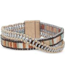 lonna & lilly two-tone & fabric crystal double-row wrap bracelet