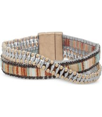 lonna & lilly two-tone & fabric crystal double-row wrap bracelet