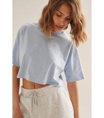 na-kd basic ekologisk croppad oversized t-shirt med rund halsringning - blue