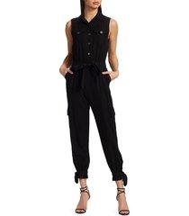 alice + olivia women's kai sleeveless cargo jumpsuit - black - size 0