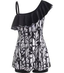 bamboo print flounce skew neck tankini swimwear
