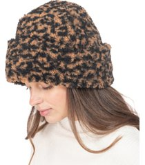 inc animal-print faux-sherpa beanie, created for macy's