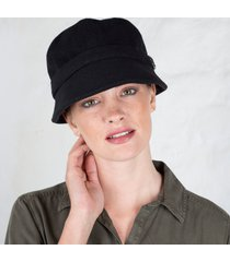 black wool flapper cap