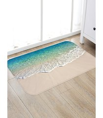 beach sea print fleece floor mat