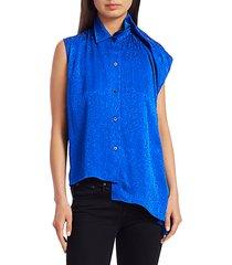asymmetric jacquard blouse