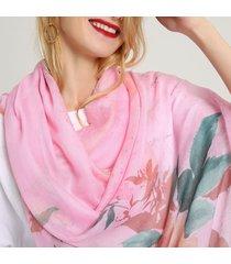donna scialle in cotone lino misto stampato di inchiostro caldo sciarpa