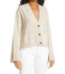 women's frame wool & cashmere cardigan, size medium - beige