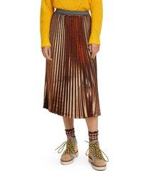 women's scotch & soda metallic pleated midi skirt, size small - metallic