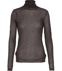 sheer rib knit turtleneck sweater