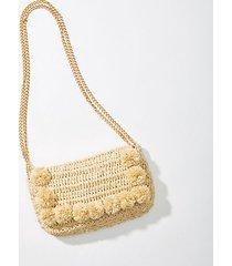 loft pom pom straw crossbody bag