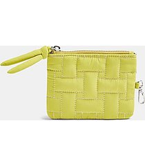 lime green nylon weave zip top wallet - lime