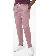 mk pantalone oxford in chambray stretch - vino (rosso) - michael kors