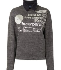 kolor collared logo print sweatshirt - grey