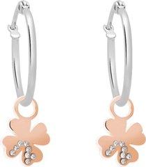 orecchini a cerchio con charm quadrifoglio in acciaio bicolore e strass per donna