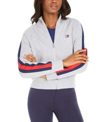tommy hilfiger sport striped-sleeve jacket