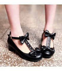 pp299 extra size t-type strappy pump w bowties, us size 2-10.5 black