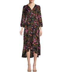 floral three-quarter sleeve wrap dress