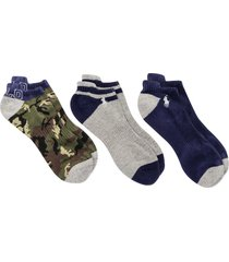 men's polo ralph lauren assorted 3-pack camo no-show socks, size one size - blue