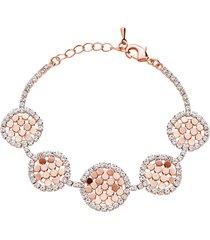 bracciale con strass e dettagli circolari in metallo rosato per donna