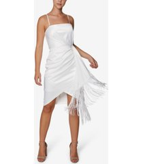 laundry by shelli segal faux-wrap fringe bodycon dress