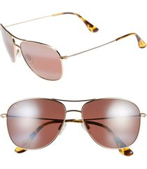 maui jim cliff house 59mm polarizedplus2 metal aviator sunglasses - gold/ maui rose