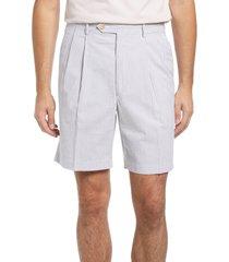 berle pleated seersucker shorts, size 32 in grey at nordstrom