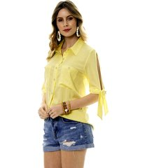 camisa bisô amarração amarela - kanui