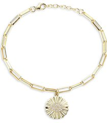 chloe & madison women's 14k goldplated sterling silver & cubic zirconia evil eye bracelet