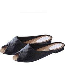 moda mujer zapatillas de cuero suave leopardo superior imprime peep toe sandalias