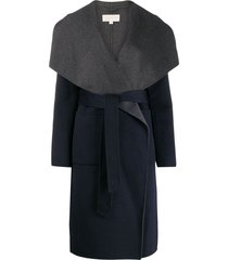 michael michael kors shawl collar coat - blue